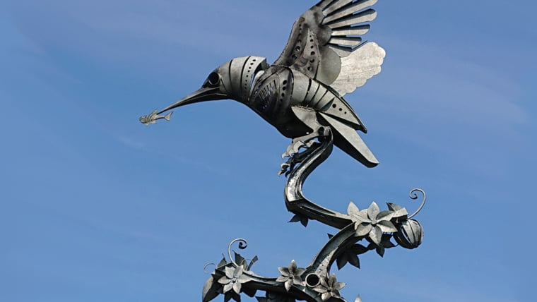 kingfisher with minnow sculpture by walenty pytel