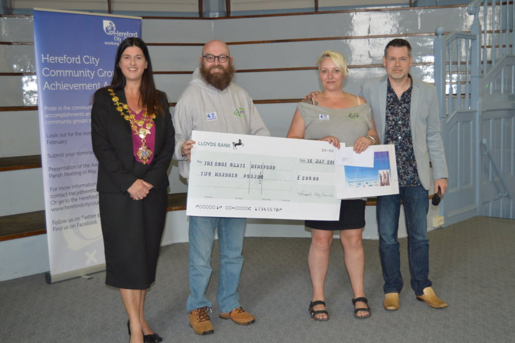 In 3rd place – The Core Skate Hereford CIC, who received a cheque for £200