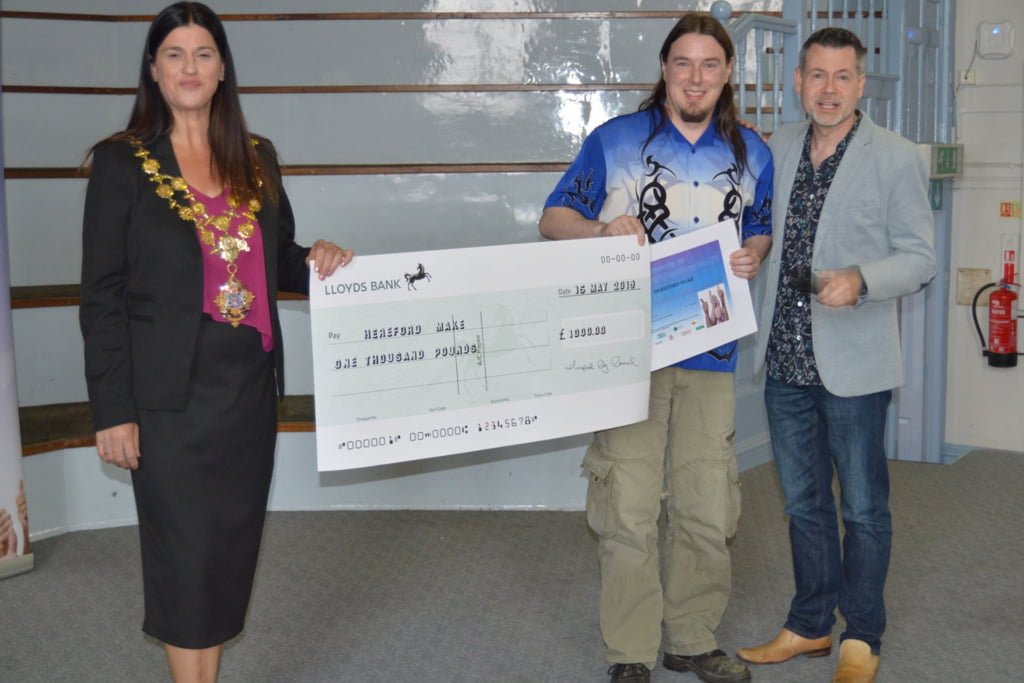 In first place – Hereford MAKE, who received a cheque for £1000.