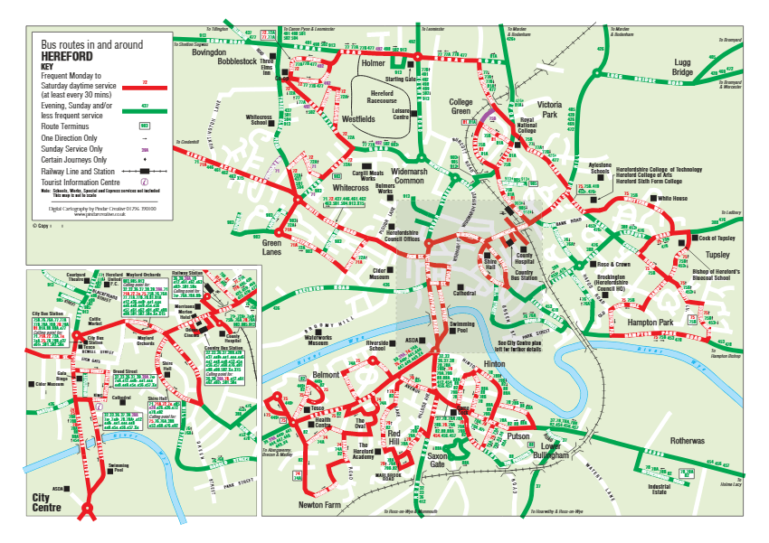 Map of Hereford City Bus Map