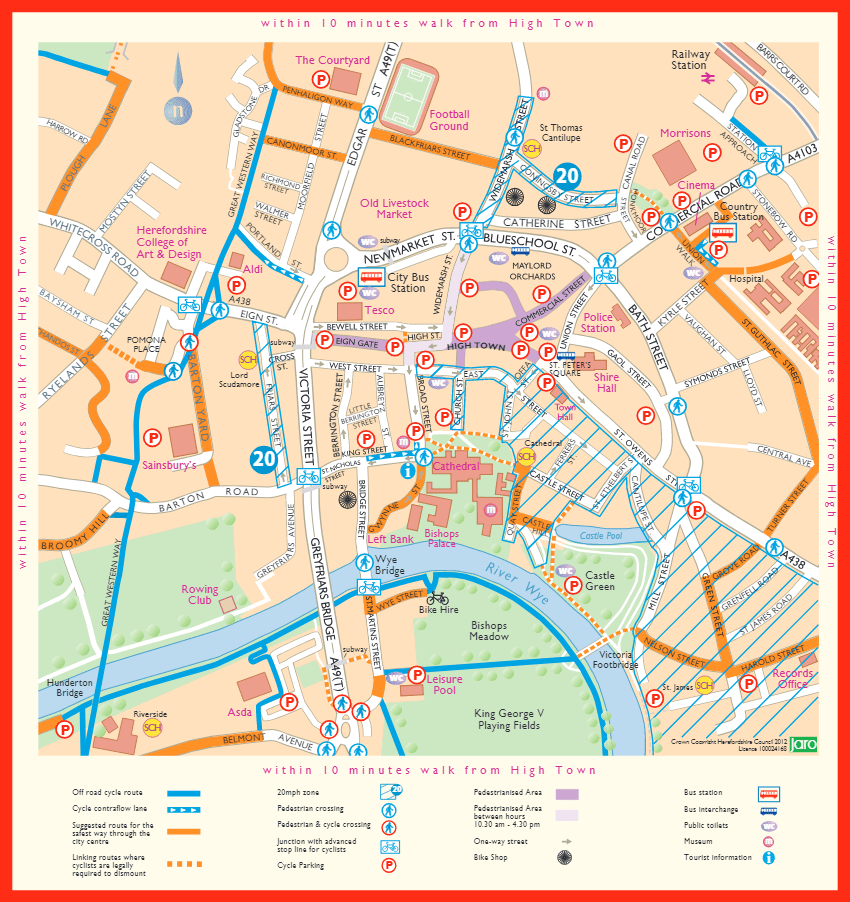 Map of Hereford City Centre