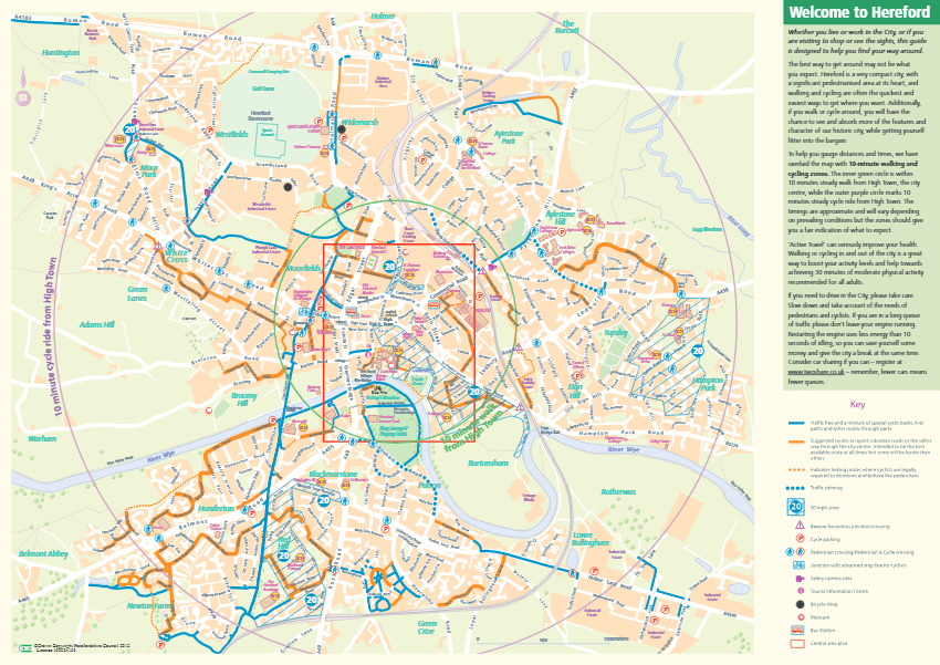 Map of Hereford City Cycle Paths