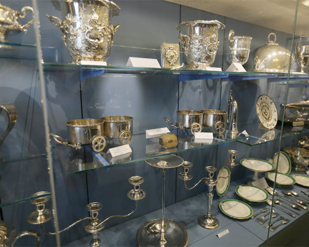 Hereford City Silver in a cabinet