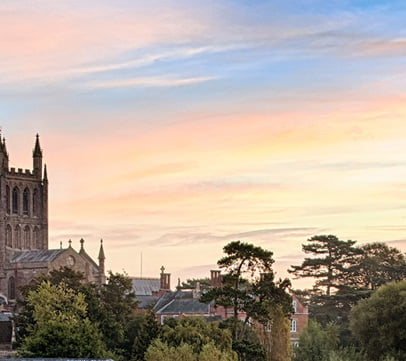 An orange sky above the Hereford cathedral